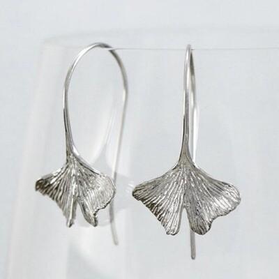 Ginkgo Dangle Earring in Sterling Silver - IBE142