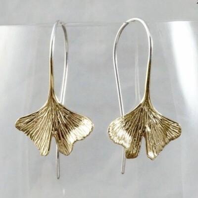 Ginkgo Dangle Earrings in Brass + Sterling Silver - IBE142