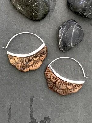 Carved Wood Moonflower Hoop in Sterling Silver - IBE224
