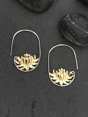 Water Lily Earrings in Brass + Sterling Silver - IBE148