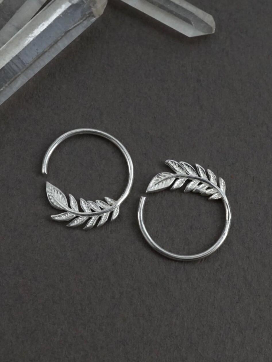 Tiny Leaf Sterling Silver Sleeper Hoops - IBE232