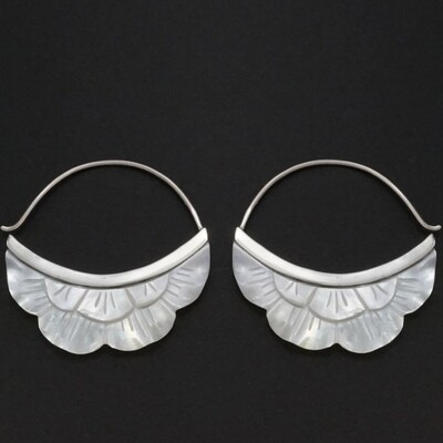 Mother of Pearl Rising Sun Earrings in Sterling Silver - IBE222