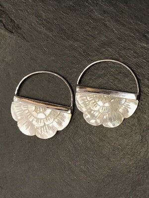 Mother of Pearl Rising Sun Hoop in Sterling Silver - IBE162