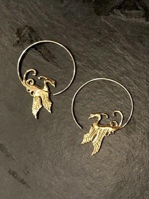 Phoenix Hoops in Brass + Sterling Silver - IBE52