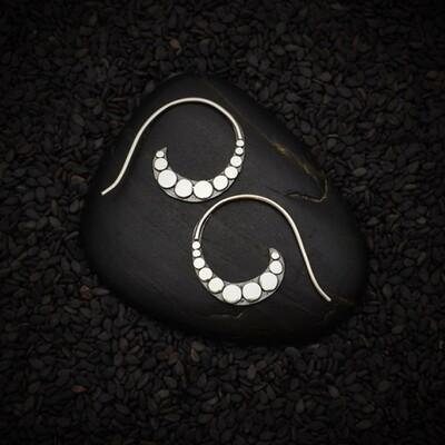 Sterling Silver Dotted Swirl Hoop Earrings - H12-3389