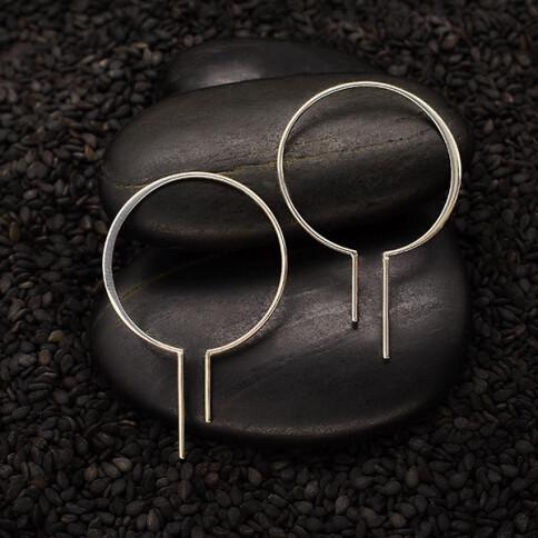 Sterling Silver Wide Bulb Hoop Earrings - H12-3450