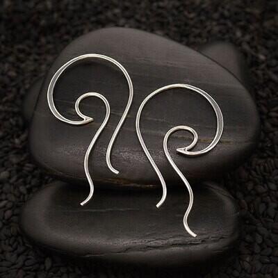 Sterling Silver Open Wavy Hoop Earrings - H12-3449