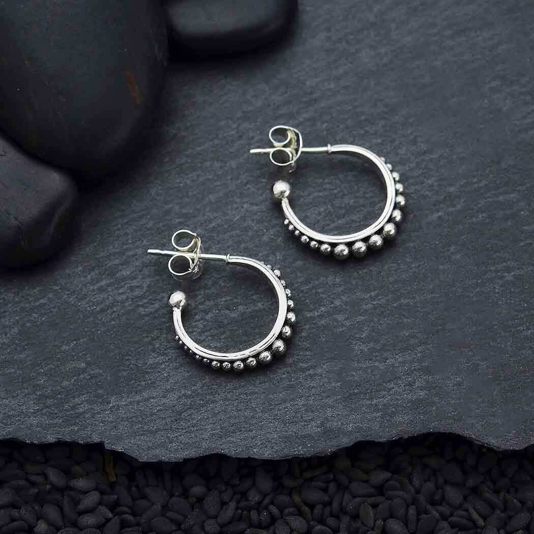 Sterling Silver Dotted Hoop with Post Earrings - H12-3509