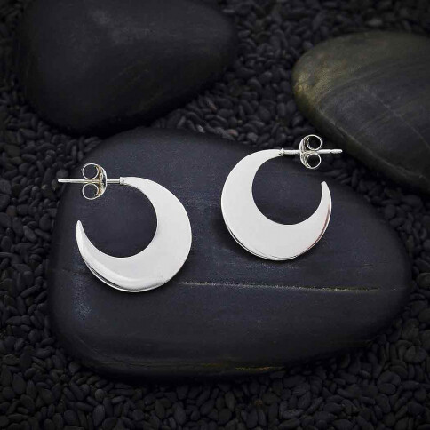 Sterling Silver Crescent Moon Hoop with Post Earrings - H12-3511