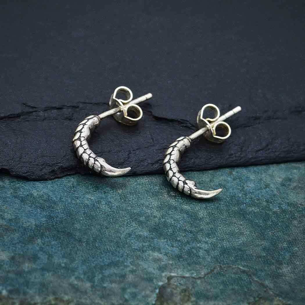 Sterling Silver Bird Claw Hoop with Post Earrings - H12-7078