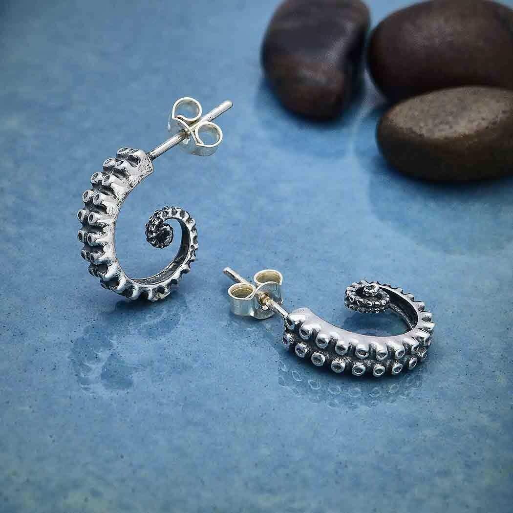 Sterling Silver Octopus Tentacle Hoop with Post Earrings - H12-7079