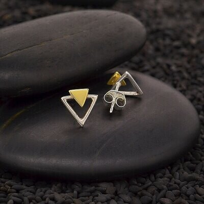 Sterling Silver Triangle Post Earrings with Bronze - 3457