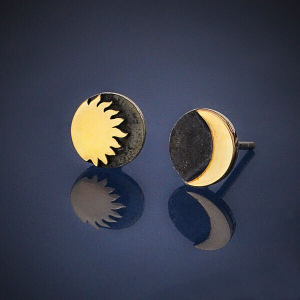 Sterling Silver Post Earrings with Bronze Sun and Moon - 6258