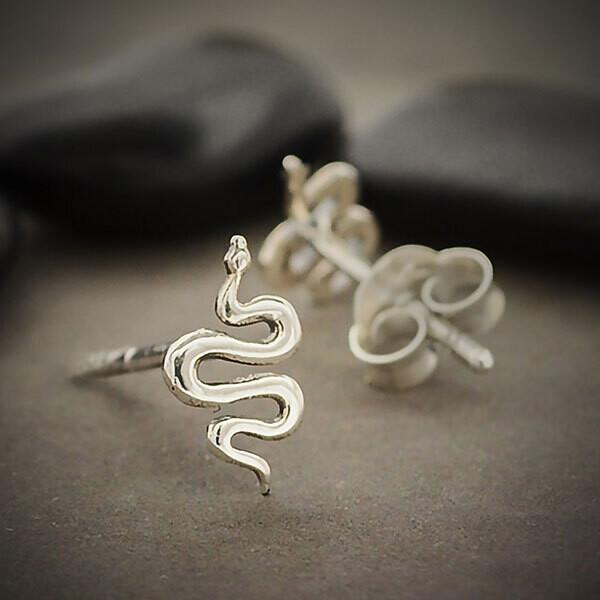 Sterling Silver Snake Post Earrings - 6098