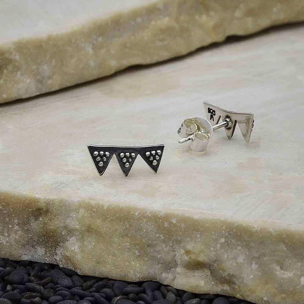 Sterling Silver Triple Triangle Post Earrings - 3503