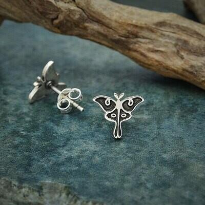 Sterling Silver Luna Moth Post Earrings - 6392