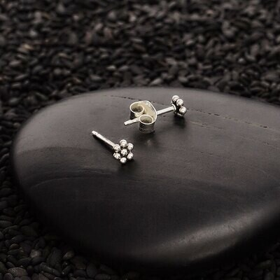 Sterling Silver Granulated Flower Post Earrings - 3437