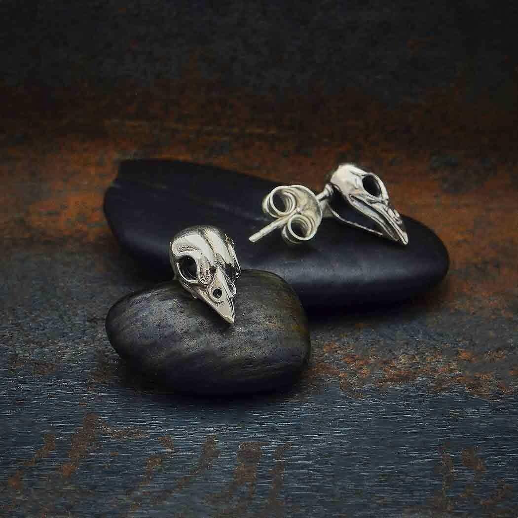 Sterling Silver Sparrow Skull Post Earrings - 6394