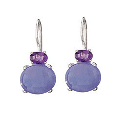 Sterling Silver Lavender Jade+ Faceted Amethyst Earrings - ETM863