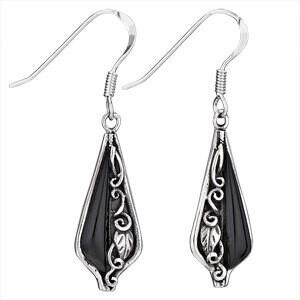 Sterling Silver Black Onyx Earrings with Leaf Overlay - ETM3675