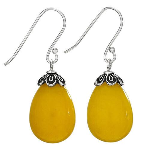 Sterling Silver Honey Jade Simple Drop Earrings - ETM3828