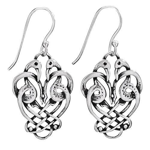 Sterling Silver Entwining Swan Knot Earrings - ETM3934