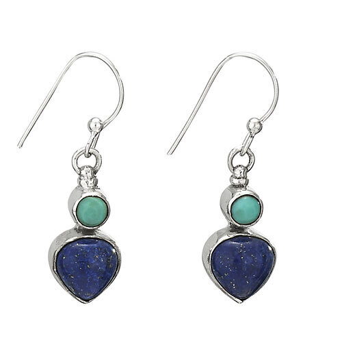 Sterling Silver Turquoise and Lapis Earrings - ETM3990