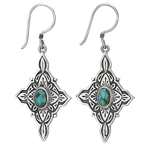 Sterling Silver Four Pointed Turquoise Earrings - ETM4047
