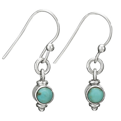 Sterling Silver Petite Turquoise Round Drop Earrings - ETM4043