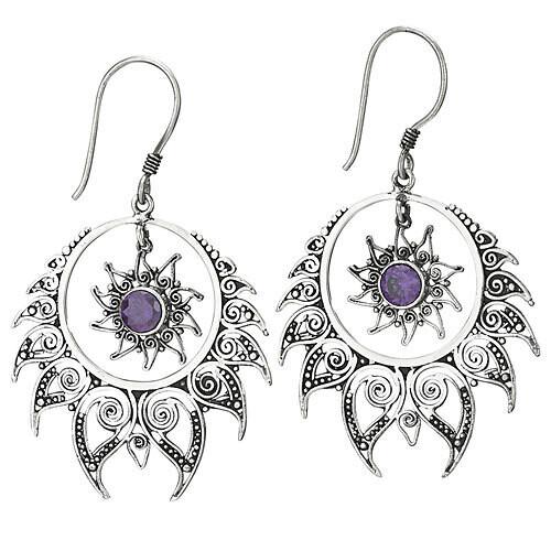 Sterling Silver Faceted Amethyst Sun + Star Earrings - ETM4063