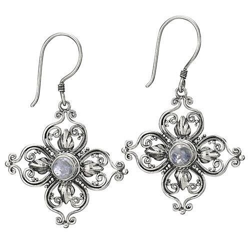 Sterling Silver Stylized Flower Rainbow Moonstone Earrings - ETM4072