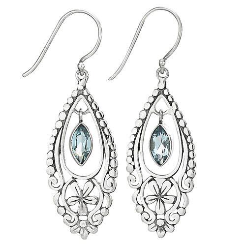 Sterling Silver Blue Topaz Filigree Floral Earrings - ETM4135