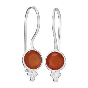 Sterling Silver Round Faceted Carnelian Earrings - ETM4248