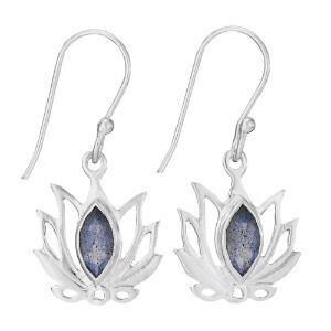 Sterling Silver Faceted Labradorite Open Lotus Earrings - ETM4253
