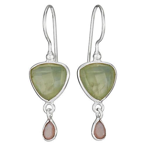 Sterling Silver Prehnite and Peach Moonstone Drop Earrings - ETM4480