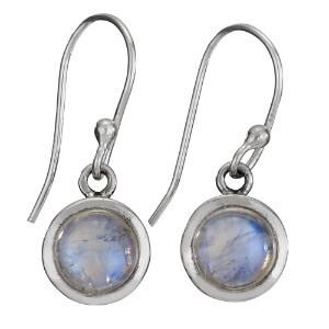 Sterling Silver Simple Round Rainbow Moonstone Earrings- ETM4360