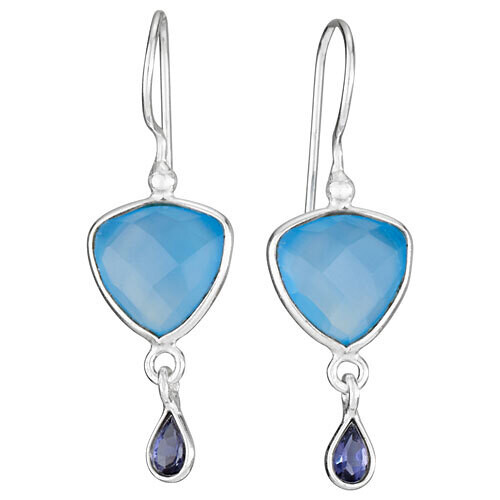 Sterling Silver Blue Chalcedony and Iolite Drop Earrings - ETM4481