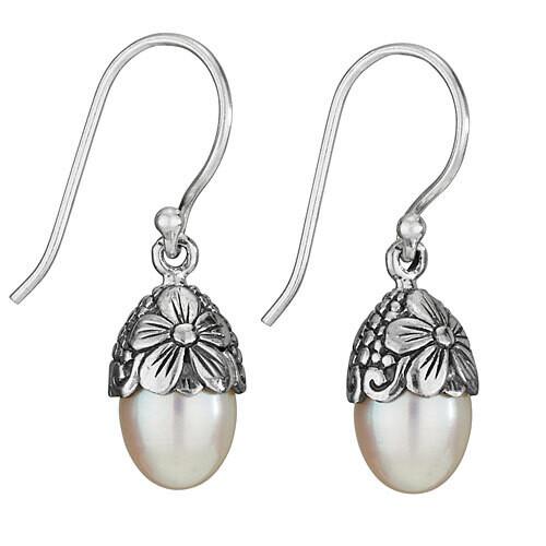 Sterling Silver Flower Capped Oval Pearl Earrings - ETM4529