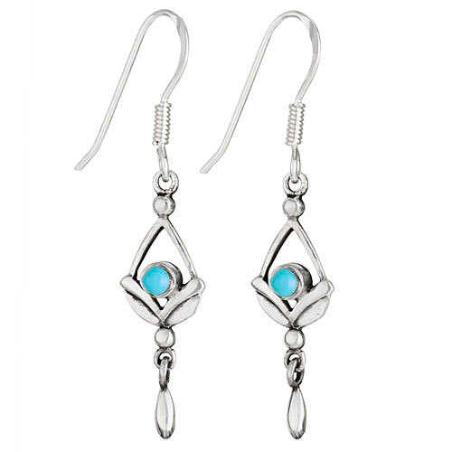 Sterling Silver Turquoise and Silver Droplet Earrings - ETM4664