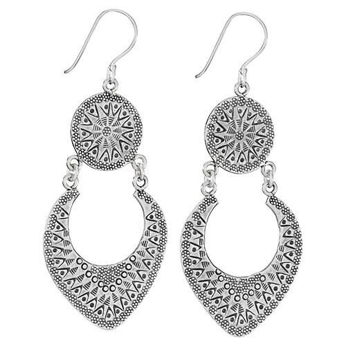 Stamped Hilltribe Silver Swinging Dangle Earrings - ETM4698