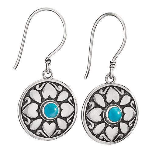 Sterling Silver Round Turquoise Flower Earrings - ETM4687