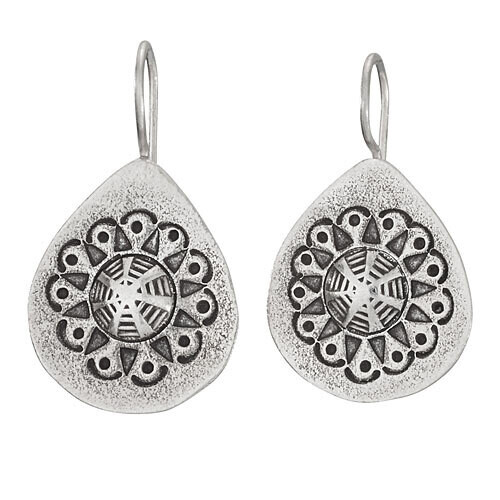 Hilltribe Silver Fixed Wire Flower Stamp Earrings - ETM4705