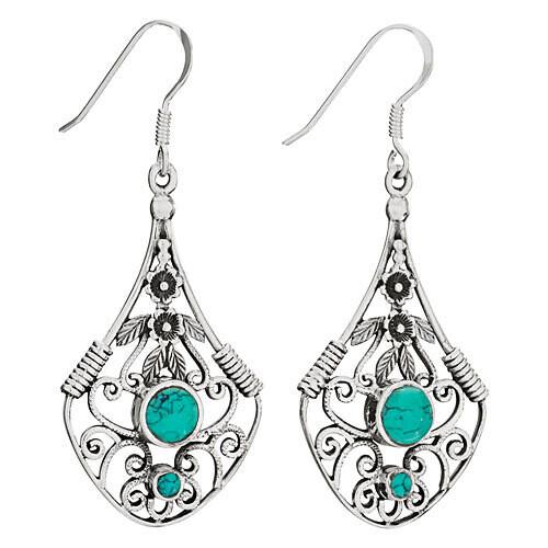 Sterling Silver Long Turquoise Flowers and Scrolls Earrings - ETM4743