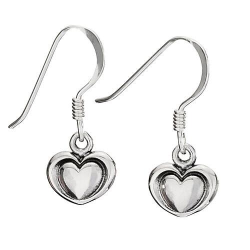 Sterling Silver Heart in Heart Stamped Dangles - ETM4779
