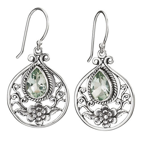 Sterling Silver Faceted Green Amethyst Filigree Flower Earrings - ETM4863