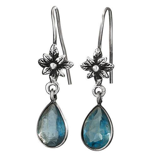 Sterling Silver Apatite Drop Flower Earrings - ETM4874