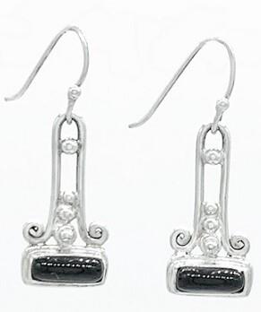 Sterling Silver Black Onyx Bar Ladder Earrings - ETM10190