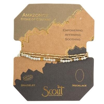 Amazonite Delicate Stone Wrap Bracelet/Necklace - SD004