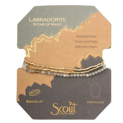 Labradorite/GD Delicate Stone Wrap Bracelet/Necklace - SD010