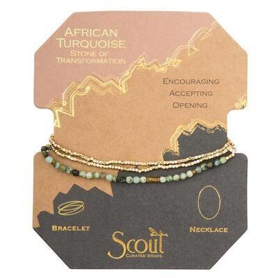 African TQ/GD Delicate Stone Wrap Bracelet/Necklace - SD006